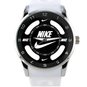 Nike Swoosh Watch Sport Silicone Band White Strap Black Face Dial Wristwatch